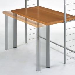 突っ張り式高さ調節シリーズ 伸長デスクラック 幅118cm 伸長デスクは奥行60cmと75cmに調節が可能。