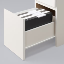 デスクサイド収納ラック 幅30奥行46.5cm (高さ150/180/210cm) 大サイズの引出し(3段目)は、A4ファイル対応サイズで背の高い収納物も入ります。スライドレールで開閉スムーズです。