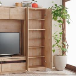 天然木調テレビ台ハイバックシリーズ 扉キャビネット・幅45.5奥行34.5cm (※お届けの色とは異なります)