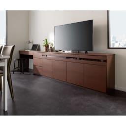 テレワークにも最適 ラインスタイルハイタイプテレビ台シリーズ デスク・幅75cm コーディネート例(ア)ダークブラウン