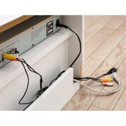 ラインスタイルシリーズ テレビ台 幅178cm 【配線カット】 天板奥にはテレビの配線を通す配線用のカットがあるので壁にぴったり設置しても問題ありません。