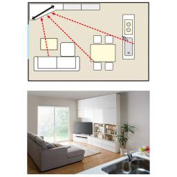 コーナーテレビ台壁面収納シリーズ 幅150cmTV台左壁設置用 みんなの視線を集めるコーナー専用壁面収納。お料理中の立ち仕事でも、テレビを観ながら家族と楽しい会話が弾みます。