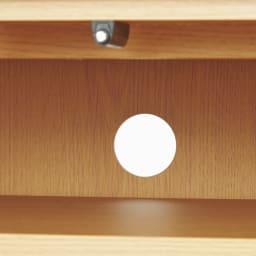 オーク材アールデザインリビングシリーズ テレビ台ハイ 幅150cm 背面にはコード穴があり、配線がすっきり。