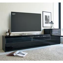 パモウナBW-120 輝く光沢のモダンリビングシリーズ テレビ台 幅120cm (イ)ブラック ※写真は(左)テレビ台・幅180cmタイプ、(右)キャビネットです。