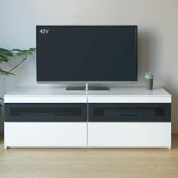 パモウナBW-160 輝く光沢のモダンリビングシリーズ テレビ台 幅160cm (ア)ホワイト ※写真はテレビ台・幅140cmタイプです。