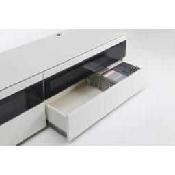 パモウナBW-200 輝く光沢のモダンリビングシリーズ テレビ台 幅200cm 引出にはDVDやCD等のソフト類がたっぷり収納できます。 (引出耐荷重:20kg)