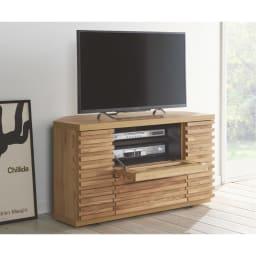 隠しキャスター付き天然木格子コーナーテレビ台幅90cm(隠しキャスター付き) 使用イメージ(イ)ライトブラウン