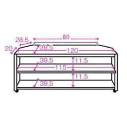 配線コード巻き取り機能付き!オープンコーナーテレビ台 幅120cm・オープンタイプ 内寸図(単位:cm)