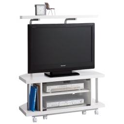 テレビ上の空間を有効活用できるシリーズ コーナー用テレビ台 幅90cm・棚1段 (イ)ホワイト ※テレビは32インチ液晶テレビを載せています。