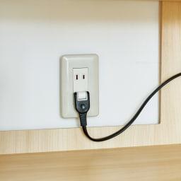 スイッチ避け壁面収納シリーズ スイッチよけタイプ(上台オープン・下台引き出し)幅45cm奥行40cm 設置後の配線簡単。扉内背面の穴で壁のコンセントを活かせます。■コンセント用背板くり抜き:幅30高さ30cm