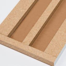 組立不要1cmピッチ頑丈棚板本棚 扉タイプ 芯材を幅広にして強度を大幅にアップ。