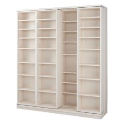 本格仕様 快適スライド書棚 オープン 4列 (ウ)ホワイト(木目)