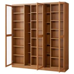 本格仕様 快適スライド書棚 タモ天然木扉付き 4列 (イ)ナチュラル