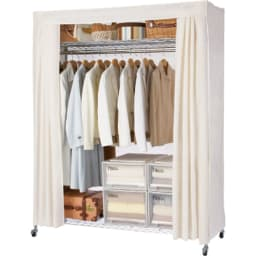 洗えるカバー付き 頑丈ハンガーラック ロータイプ・幅152cm 棚の位置を高めに設定すればロング丈のコートも余裕で掛けられます。