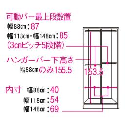 引き戸間仕切りワードローブ ハンガータイプ・幅148cm 内部の構造図(単位:cm)