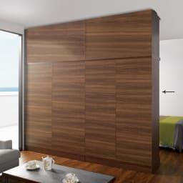 引き戸間仕切りワードローブ ハンガー+棚・幅118cm 背面は間仕切りとして使用出来る、間仕切りパネル構造。