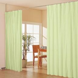 突っ張り&伸縮式目隠しカーテン リングタイプ コーディネート例(エ)グリーン