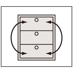 【日本製】シンプルスタイルワードローブ タワーチェスト幅77.5cm奥行56cmタイプ 【引き出し入替OK】 上から1~7段目は中の衣類を取り出さずに引き出しごと入れ替えられます。