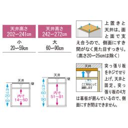 【日本製】シンプルスタイルワードローブ オーダー上置き 幅57.5cm 奥行56cmタイプ 【商品の仕様説明】画像左は外寸・内寸サイズ、右は突っ張り部分の説明です。1cm単位でオーダー可能です。