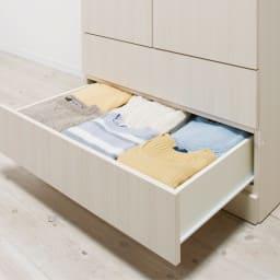 システム壁面ワードローブ ハンガー&引き出し・幅80cm 衣類がたっぷり入る、奥行内寸47cmの引き出し。全段ストッパー付きスライドレール仕様です。