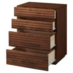 天然木横格子柄のローチェスト 幅60cm・4段 引き出しを開けた状態