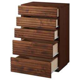 天然木横格子柄のローチェスト 幅60cm・5段 引き出しを開けた状態