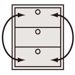 【日本製】奥行50cm隠しキャスター付きクローゼットチェスト 幅100cm・3段 引き出し入替OK 小引き出しを除く。