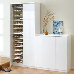 前面ミラー&板戸シューズボックス ミドルタイプ・幅75.5 高さ93cm (イ)ホワイト色見本