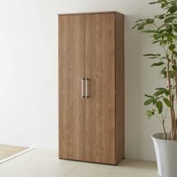棚板たっぷり大容量シューズボックス 幅75cm コーディネート例(ア)ブラウン