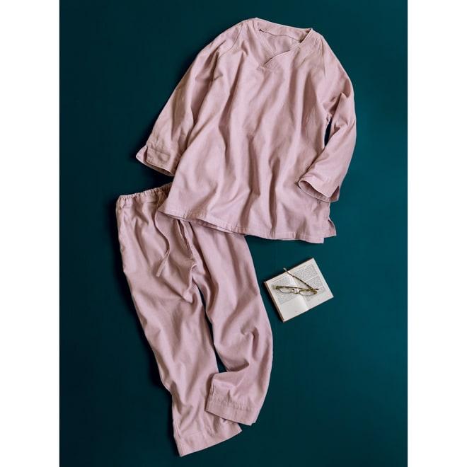 和ざらし二重ガーゼのホテルライクパジャマ (イ)グレイッシュピンク