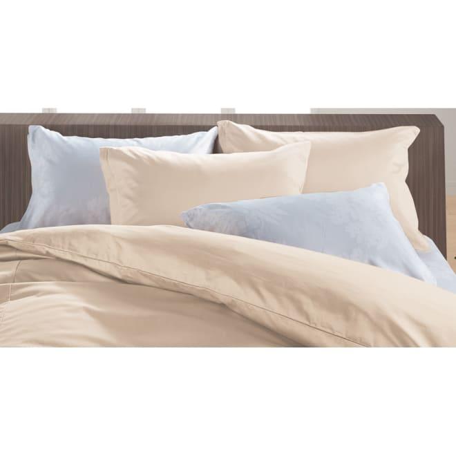 綿100%のダニゼロック 枕カバー(普通判) オーガニックコットンタイプ  同色2枚組 (ク)ベージュ