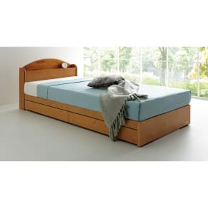 【シングル】天然木棚付き引き出しベッド(レギュラーマットレス付き) 写真