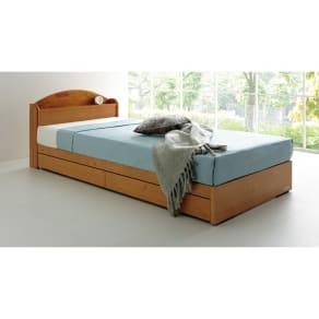 【ダブル】天然木棚付き引き出しベッド(レギュラーマットレス付き) 写真