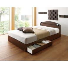 フランスベッド 天然木棚付き引き出しベッド 羊毛入りマルチラススーパースプリングマットレス付き 写真