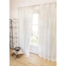 見えにくく明るい機能ボイルカーテン(イージーオーダー)(1枚) (ア)ホワイト