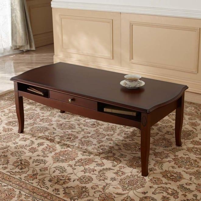 ベネチア調象がんシリーズ センターテーブル・幅110cm(引き出し付き) 象嵌細工が美しい、引き出し付のワイドなリビングテーブル。