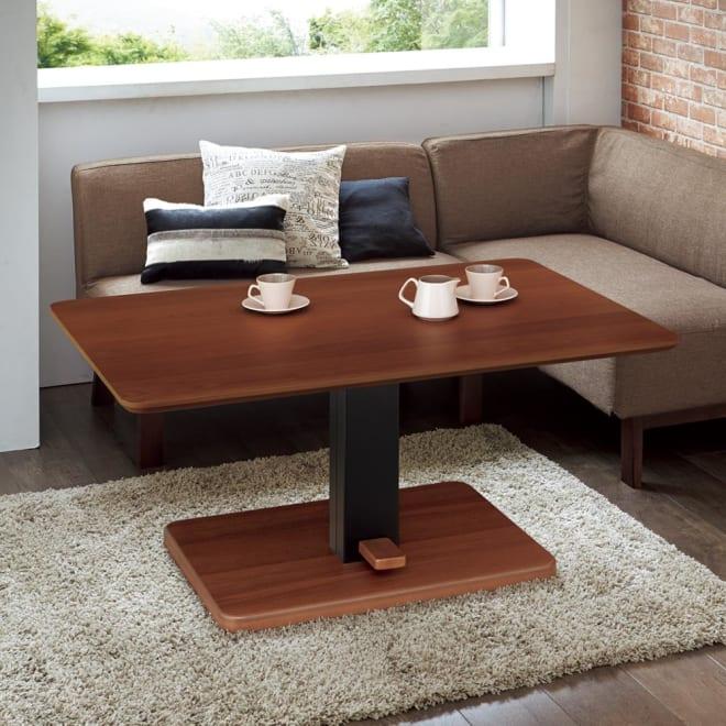 布団がいらないダイニングこたつシリーズ 昇降式こたつテーブル 幅105cm コーディネート例(ア)ウォルナット