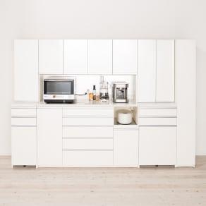 家電が使いやすいハイカウンター奥行50cm 食器棚高さ203cm幅40cm/パモウナDQ-400KL DQ-400KR 写真