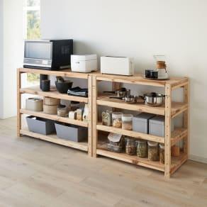 国産杉の飾るキッチンシリーズ キッチンラック・ロー 幅119奥行51cm 写真