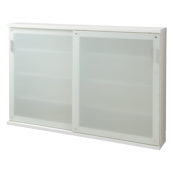 収納物の見やすい ガラス戸カウンター下収納庫 引き戸・幅150奥行22高さ100cm