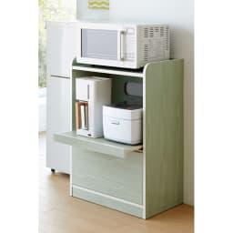 キッチン収納ミニ食器棚シリーズ レンジ台小(高さ90.5cm) スライドテーブル付きのコンパクトなレンジ台。アンティーク風のグリーン木目の素材がキッチンを彩ります。 (ア)グリーン系