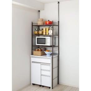 幅伸縮キッチンラック 突っ張り式・棚3段 幅47.5~70cm・高さ194~272cm 写真