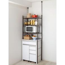 幅伸縮キッチンラック 突っ張り式・棚3段 幅47.5~70cm・高さ194~272cm