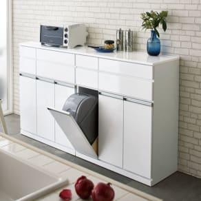 光沢仕上げ腰高カウンター収納シリーズ キッチン収納庫 幅82.5cm 写真