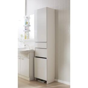組立不要 洗濯カゴ付き2in1光沢サニタリー収納庫 ハイタイプ 幅43.5cm 写真
