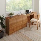天然木調薄型コンパクトオフィスシリーズ 3枚扉キャビネット・幅120cm 写真