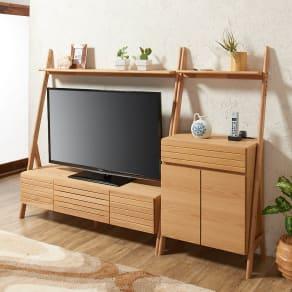 天然木シェルフテレビ台シリーズ キャビネット 幅65cm 写真