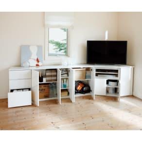 ダイニングテーブルから見やすいハイタイプテレビシリーズ  薄型キャビネット3枚扉  幅89.5cm 写真