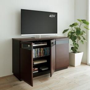 オーク材アールデザインリビングシリーズ テレビ台ハイ 幅120cm 写真