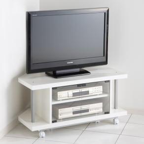 テレビ上の空間を有効活用できるシリーズ コーナー用テレビ台 幅90cm 写真